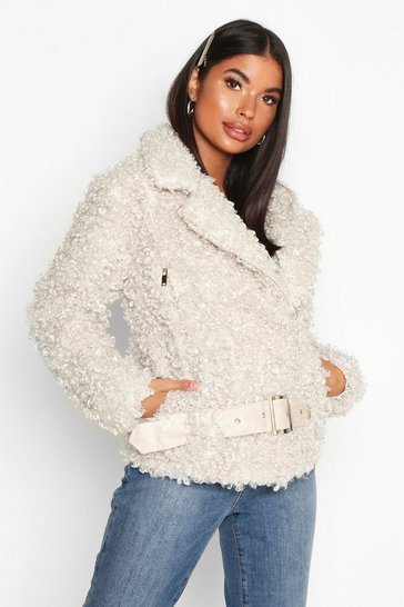 Cream Petite Faux Fur Teddy Aviator Jacket