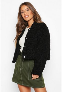 Black Petite Crop Faux Teddy Fur Pocket Jacket