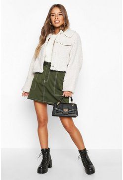 Dam Cream Petite Crop Faux Teddy Fur Pocket Jacket