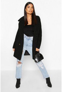 Black Petite Double Breasted Faux Teddy Fur Coat