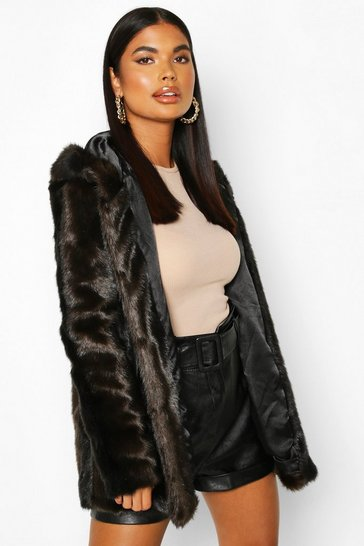 Brown Petite Hooded Luxe Faux Fur Coat