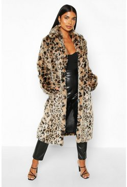 Womens Brown Petite Longline Leopard Print Faux Fur Coat