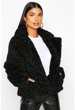 Womens Black Petite Luxe Faux Fur Short Jacket