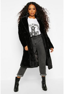 Black Petite Longline Super Soft Faux Fur Coat