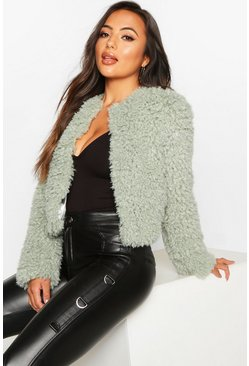 Sage Petite Crop Curly Faux Fur Coat