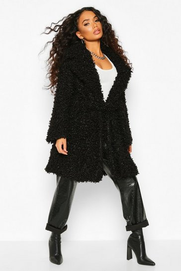 Black Petite Teddy Faux Fur Belted Coat