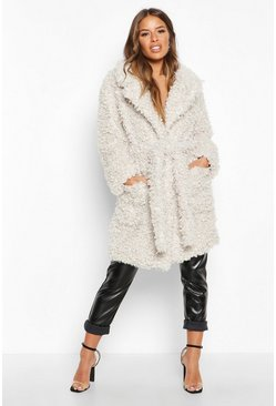 Womens Cream Petite Teddy Faux Fur Belted Coat