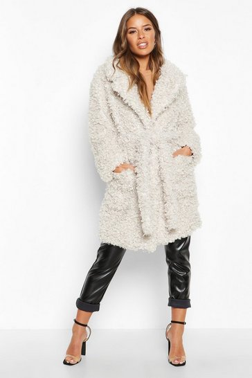Cream Petite Teddy Faux Fur Belted Coat