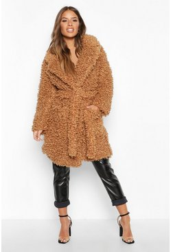 Womens Toffee Petite Teddy Faux Fur Belted Coat