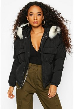 Dam Black Petite Faux Fur Hooded Side Pocket Padded Jacket