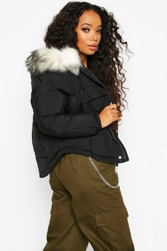 Petite Faux Fur Hooded Side Pocket Padded Jacket