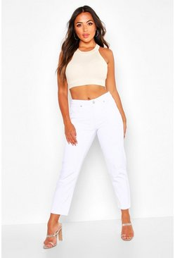 Womens White Petite High Rise Straight Jeans