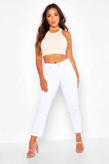 White Petite High Rise Straight Jeans