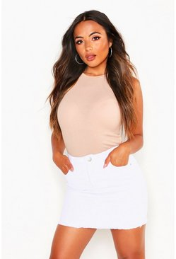 Womens White Petite Frayed Hem Mini Skirt