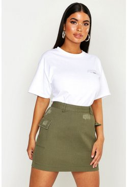 Womens Khaki Petite Cargo Pocket Denim Skirt