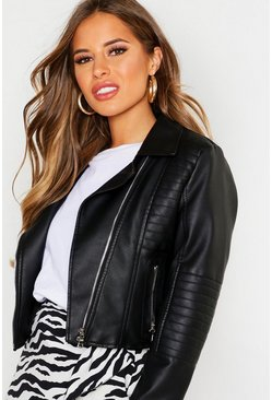 Womens Black Petite Leather Look Quilted Biker Jacket