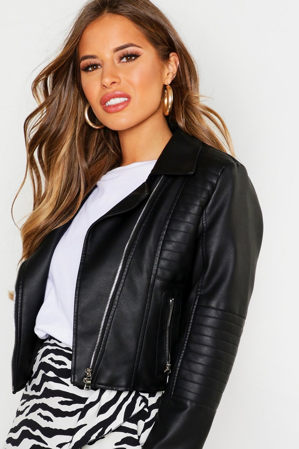 official photos big clearance sale amazing quality Petite Leather Look Quilted Biker Jacket | Boohoo