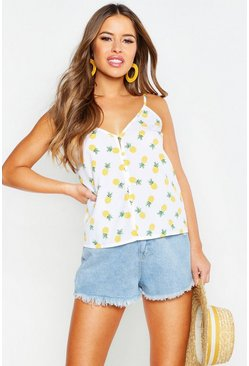 Womens Ivory Petite Pineapple Print Self Fabric Button Cami