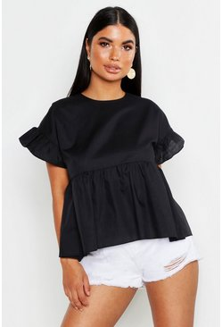 Womens Black Petite Smock Top