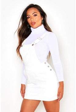 Womens White Petite Denim Pinafore