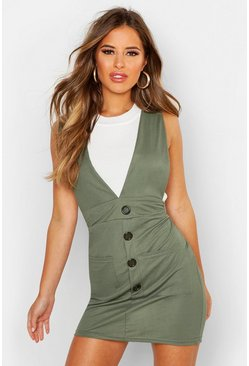 Womens Khaki Petite Linen Look Button Up Pinafore Dress