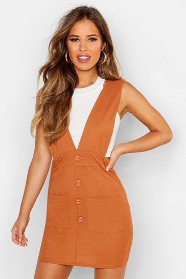 Womens Terracotta Petite Linen Look Button Up Pinafore Dress