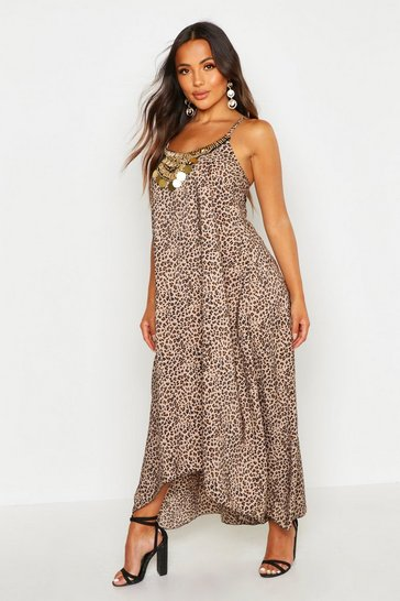 Womens Brown Petite Leopard Print Beaded Hanky Hem Dress