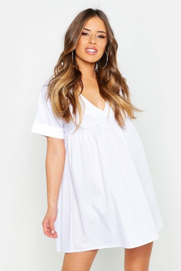 Womens White Petite V-Neck Short Sleeved Smock Dress