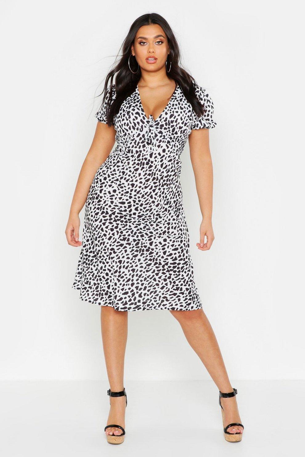 16f963e64ed5 Womens White Plus Woven Leopard Tie Front Midi Dress