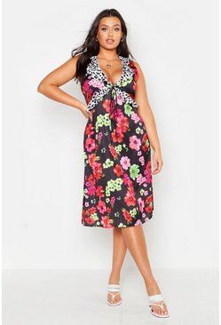 Womens Black Plus Satin Floral Mixed Ruffle Midi Dress