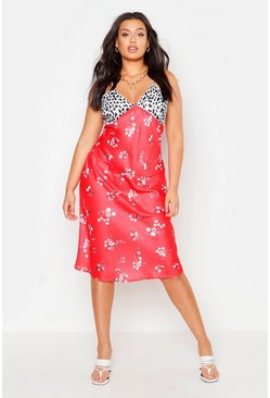 Womens Red Plus Satin Mixed Floral Bias Cut Midi Dress