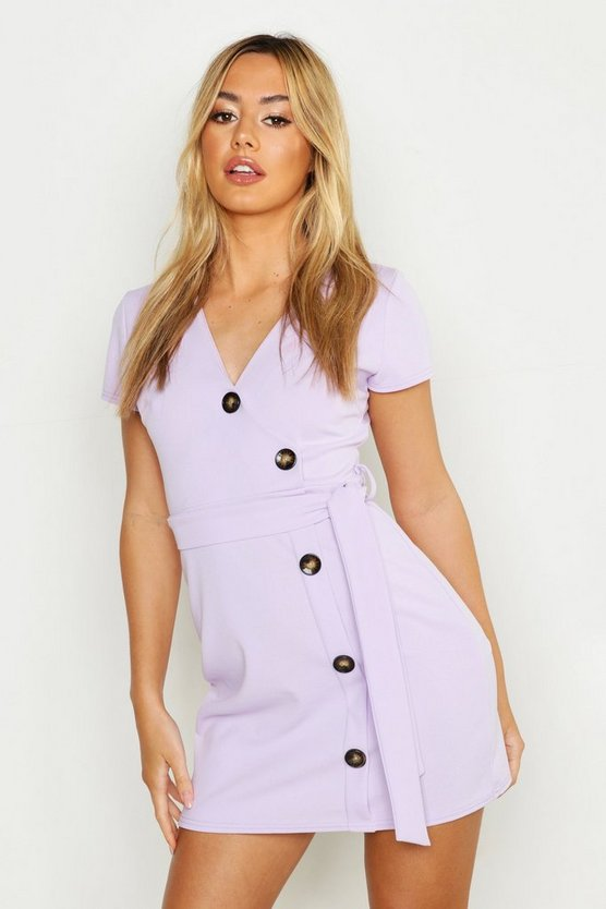 Womens Lilac Petite Horn Button Belted Wrap Dress