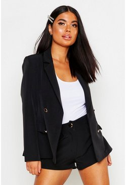 Black Petite One Button Tailored Short