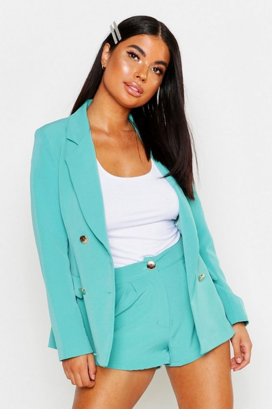 Teal Petite One Button Tailored Short