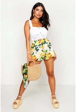 Petite Citrus Floral Print High Waist Shorts, White, ЖЕНСКОЕ