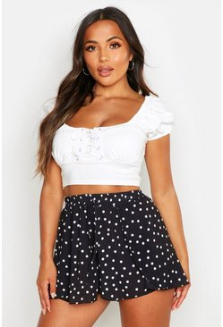 Womens Black Petite Spot Print Double Wrap Skort