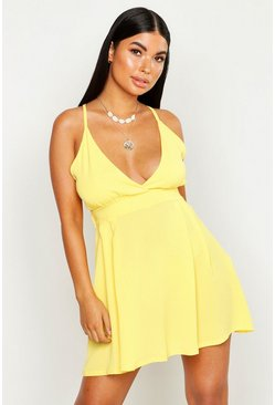Lemon Petite Woven Plunge Beach Dress