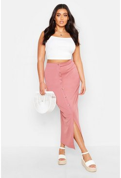 Light pink Plus Rib Button Front Split Maxi Skirt
