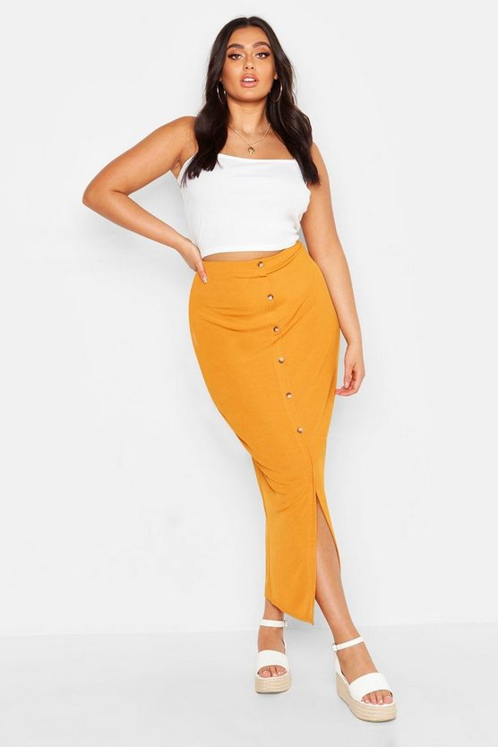 Womens Mustard Plus Rib Button Front Split Maxi Skirt