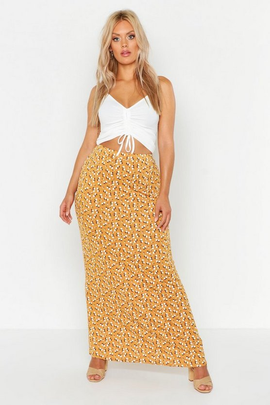 Womens Mustard Plus Ditsy Floral Maxi Skirt