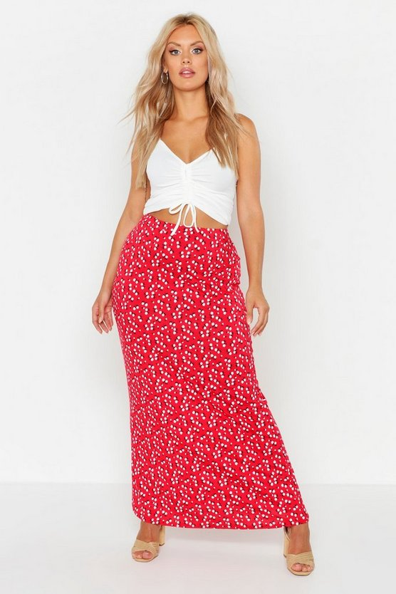Womens Red Plus Ditsy Floral Maxi Skirt