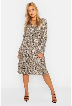 Womens Tan Plus Leopard Print Wrap Midi Dress