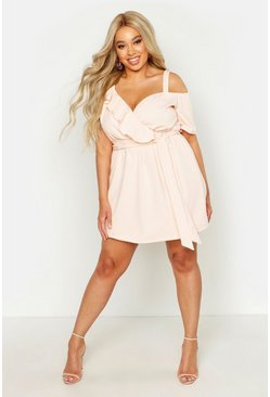 Plus Plunge Ruffle Belted Mini Dress, Blush, ЖЕНСКОЕ