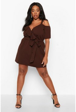 Plus Plunge Ruffle Belted Mini Dress