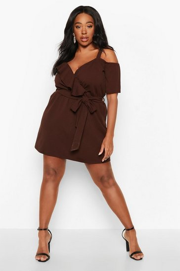 Womens Chocolate Plus Plunge Ruffle Belted Mini Dress