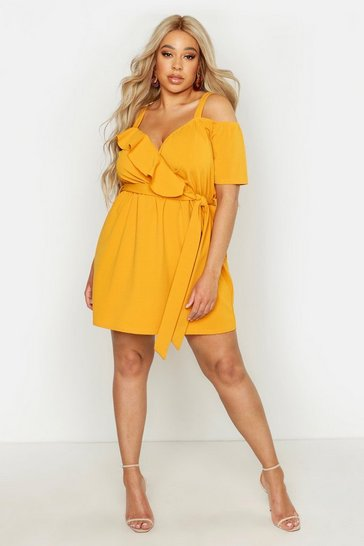 Womens Mustard Plus Plunge Ruffle Belted Mini Dress