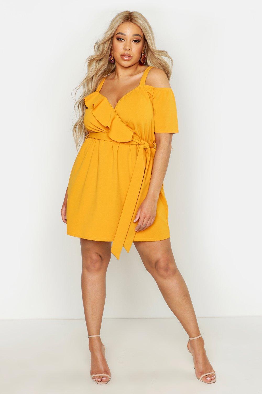 Plus Plunge Ruffle Belted Mini Dress 8