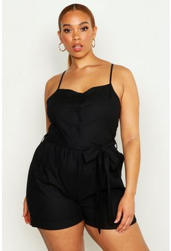 Womens Black Plus Linen Self Belt Playsuit
