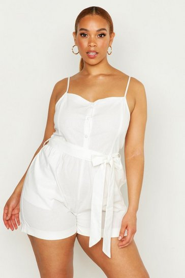 Womens White Plus Linen Self Belt Playsuit