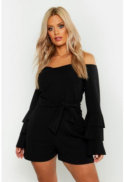 Womens Black Plus Off Shoulder Wrap Flare Sleeve Playsuit